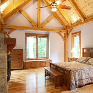 Cette image montre une chambre craftsman.