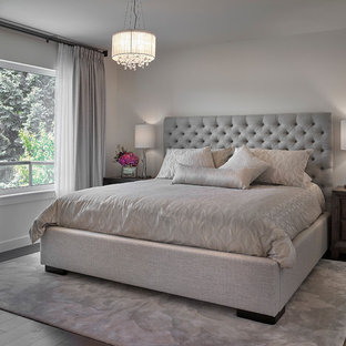 Large Clic Master Bedroom In Edmonton With Grey Walls Dark Hardwood Flooring And No Fireplace