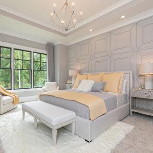 Foto di una camera matrimoniale tradizionale di medie dimensioni con pareti grigie, moquette, pavimento grigio, soffitto ribassato, nessun camino e pannellatura