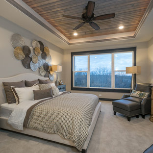 Inspiration for a timeless carpeted and beige floor bedroom remodel in Other with gray walls