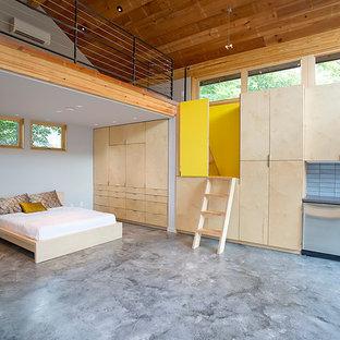 Esempio di una piccola camera da letto design con pareti bianche, pavimento in cemento e pavimento grigio