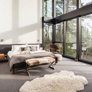 Großes Mid-Century Hauptschlafzimmer mit weißer Wandfarbe, Teppichboden, Kamin, Kaminumrandung aus Metall und grauem Boden in Portland