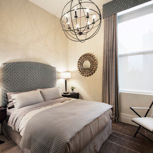 Inspiration for a large transitional guest bedroom remodel in New York with no fireplace and beige walls