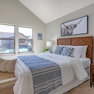 Bedroom Mid Sized Contemporary Master Carpeted And Beige Floor Idea In Portland With
