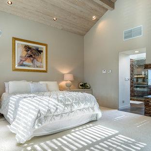 Foto de dormitorio principal, actual, grande, con paredes grises, moqueta, chimenea de doble cara, marco de chimenea de piedra y suelo blanco