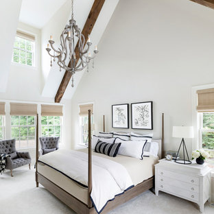 Photo of a mid-sized beach style loft-style bedroom in Minneapolis with white walls, carpet and beige floor.
