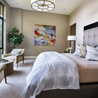 Example Of A Trendy Master Carpeted And Gray Floor Bedroom Design In  Portland With Gray Walls
