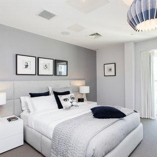 Cette Photo Montre Une Chambre Avec Moquette Tendance Avec Un Mur Gris.