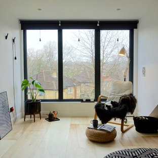Photo of a mid-sized scandinavian guest bedroom in Other with white walls, plywood floors and no fireplace.