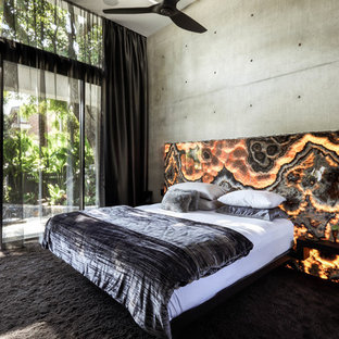 Photo of a contemporary master bedroom in Sunshine Coast with grey walls, carpet and black floor.