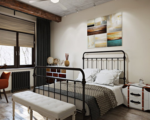 chambre industrielle avec un sol en travertin photos et id es d co de chambres. Black Bedroom Furniture Sets. Home Design Ideas