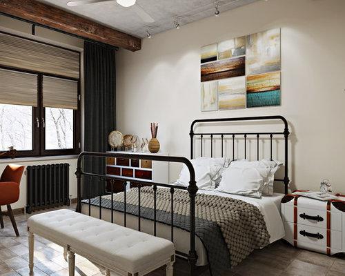 chambre industrielle avec un sol en travertin photos et id es d co de chambres. Black Bedroom Furniture Sets. Home Design Ideas