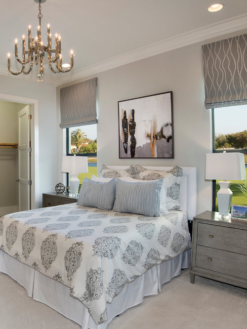 Transitional Carpeted Bedroom Photo In Miami With Gray Walls