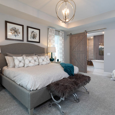 Inspiration for a transitional master carpeted and gray floor bedroom remodel in Jacksonville with gray walls