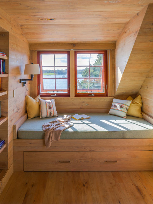 Yellow Bedroom. Bedroom  rustic medium tone wood floor bedroom idea in Boston with brown walls Blue And Yellow Ideas Photos Houzz