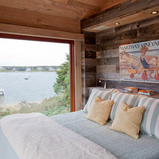 Inspiration for a rustic guest bedroom remodel in Boston with brown walls and no fireplace
