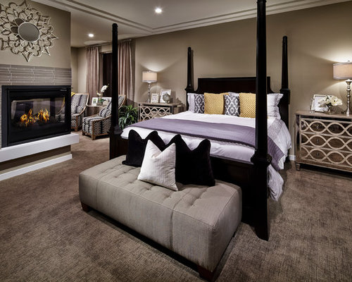 Inspiration For A Contemporary Bedroom Remodel In Denver With Corner Fireplace