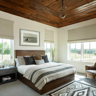 Photo of a rustic bedroom in Denver with white walls, carpet and grey floors.