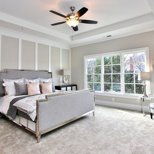 Transitional carpeted and gray floor bedroom photo in Atlanta with beige walls