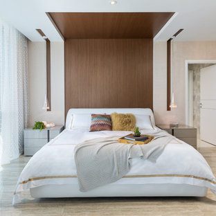 Bedroom - contemporary ceramic tile, beige floor, wood ceiling and wood wall bedroom idea in Other with beige walls