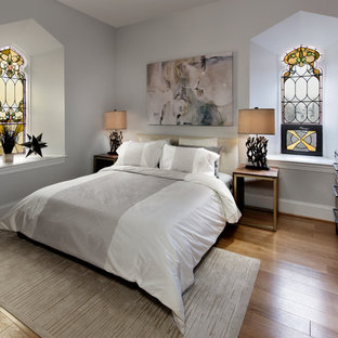 Inspiration for a victorian master light wood floor and beige floor bedroom remodel in DC Metro with gray walls