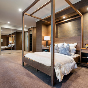 Bedroom - contemporary master carpeted bedroom idea in Perth with brown walls and no fireplace