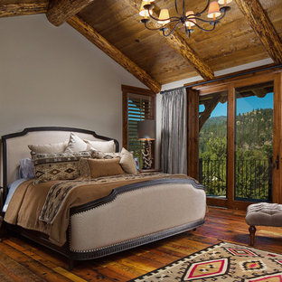 Bedroom - large rustic master dark wood floor bedroom idea in Other with gray walls, a standard fireplace and a stone fireplace