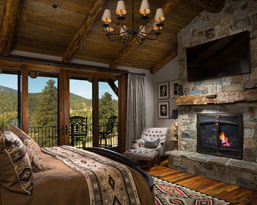 Rustic Bedroom Design Ideas Renovations Photos With A Ribbon Fireplace