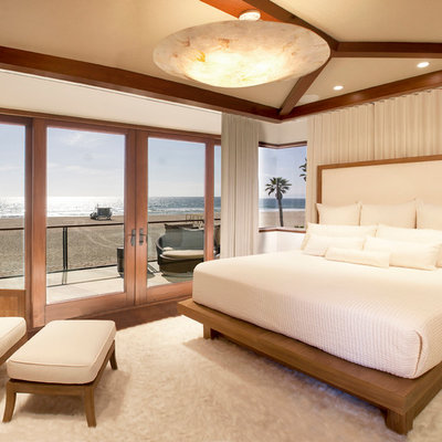 Bedroom - contemporary carpeted bedroom idea in Los Angeles with white walls and no fireplace