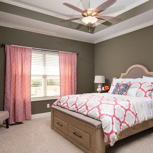 Inspiration for a mid-sized timeless master carpeted bedroom remodel in Kansas City with beige walls
