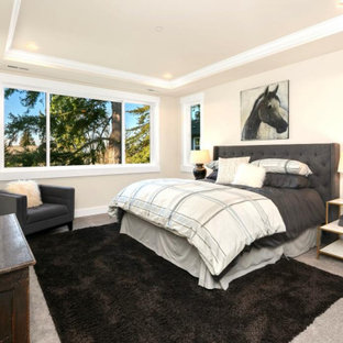 Inspiration for a huge modern master carpeted and gray floor bedroom remodel in Seattle with white walls