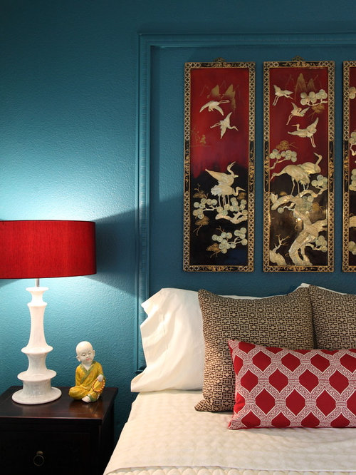 Blue And Red Bedroom Houzz