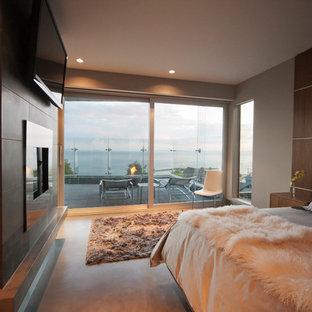 Идея дизайна: спальня в стиле модернизм с бежевыми стенами, стандартным камином и фасадом камина из металла