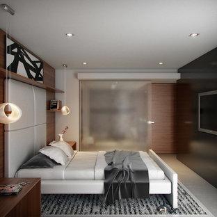 Diseño de dormitorio principal, minimalista, de tamaño medio, sin chimenea, con paredes grises y suelo de cemento
