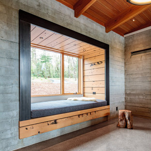 Example of a mountain style concrete floor and gray floor bedroom design in Other with gray walls