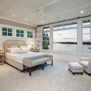 Inspiration for a large timeless master carpeted and beige floor bedroom remodel in Minneapolis with beige walls