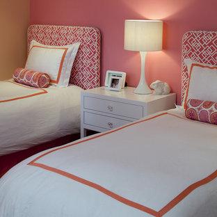 Bedroom - contemporary bedroom idea in San Francisco with pink walls