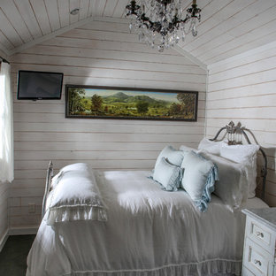 Example of a small cottage chic master porcelain floor bedroom design in Charlotte with white walls and a stone fireplace