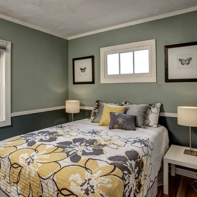 Inspiration for a contemporary bedroom remodel in Seattle with gray walls