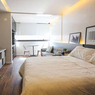 Small contemporary loft-style bedroom in Other with grey walls, porcelain floors and brown floor.