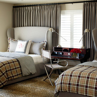 Bedroom - mid-sized modern carpeted bedroom idea in Little Rock with beige walls and no fireplace