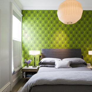 Inspiration for a modern bedroom remodel in San Francisco with multicolored walls