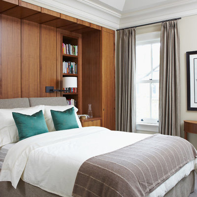 Bedroom - contemporary carpeted bedroom idea in Toronto with beige walls