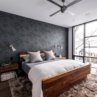 Inspiration for a mid-sized contemporary master dark wood floor bedroom remodel in Toronto with black walls and no fireplace