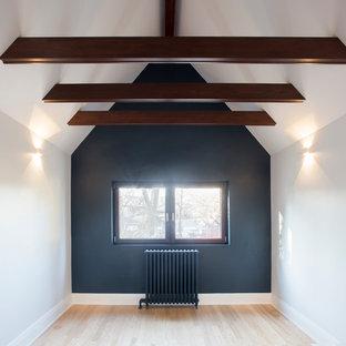 Esempio di una camera degli ospiti stile americano di medie dimensioni con pareti nere, parquet chiaro e nessun camino