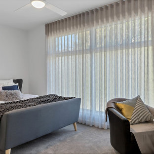 Inspiration For A Contemporary Guest Bedroom In Adelaide With White Walls Carpet And Grey Floor