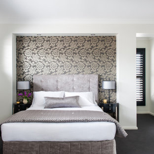 Design ideas for a transitional master bedroom in Sydney with white walls, carpet, no fireplace and black floor.