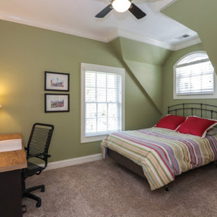 Modelo de habitación de invitados clásica renovada, de tamaño medio, sin chimenea, con paredes verdes, moqueta y suelo rosa