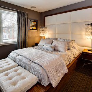 ミネアポリスのエクレクティックスタイルのおしゃれな寝室 (グレーの壁、カーペット敷き) のインテリア