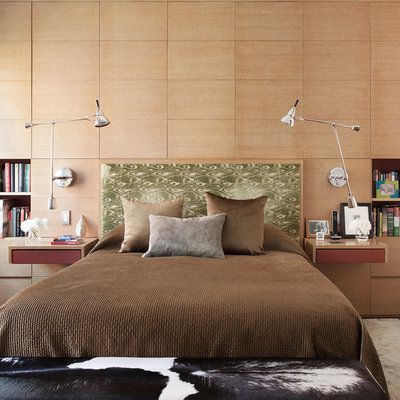 Example of a trendy master bedroom design in Chicago with beige walls